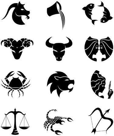 signes du zodiaque: Logo-comme le zodiaque Tenez le premier rôle les signes disolement sur un fond blanc