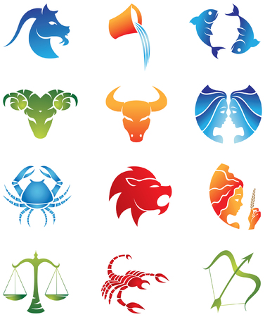 Logo-like Zodiac Star Signs isolated on a white background Vector