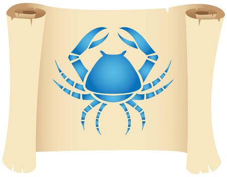 blue crab: Cancer zodiac star sign on a grunge manuscript