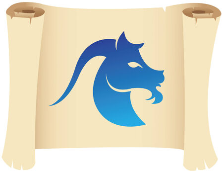 goat capricorn: Capricorn zodiac star sign on a grunge manuscript