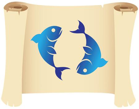 jungfrau: Sternzeichen Fische Stern-Zeichen auf einem Grunge-Manuskript