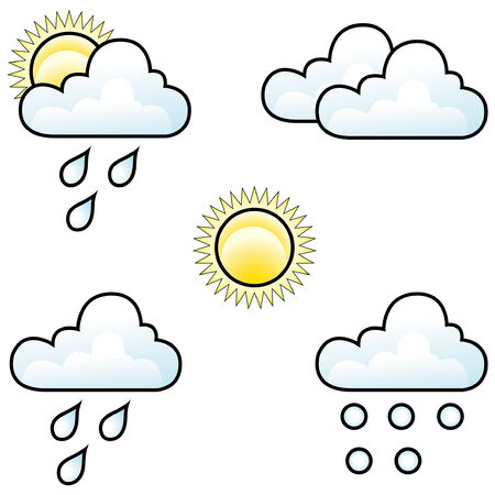 weather forecast icons isolated on white Vector