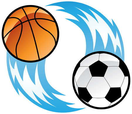 a soccer ball and a basketball ball with blue fire Vector