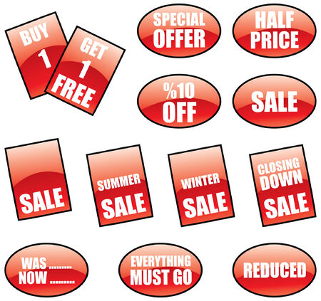 personne seule: une vente promotionnelle des �tiquettes et des autocollants ensemble  Illustration