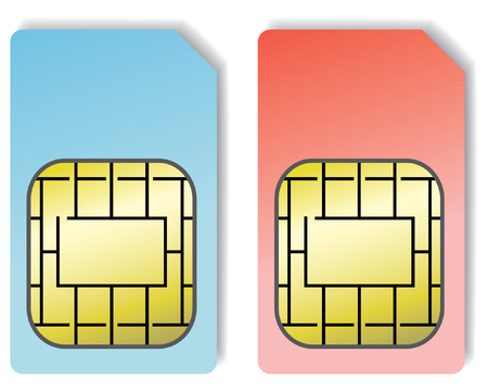 sim: 2 sim cards isolated on a white background