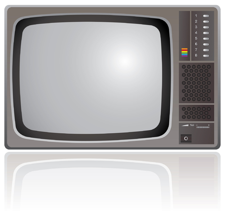 ntsc: Old Colour Television isolated on a white background