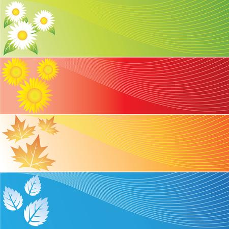 cuatro elementos: Four Seasons Banners en cuatro colores diferentes