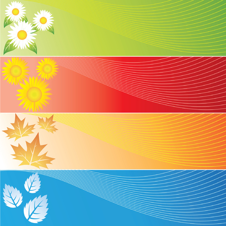 Four Seasons Banners in four different colours Illustration