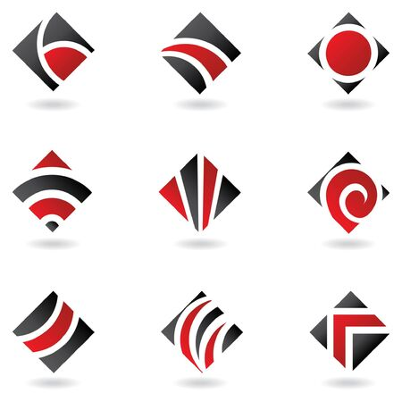 diamonds pattern: red logos Illustration