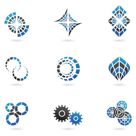 Blue Logos to go with your company name (set of 9) Vector