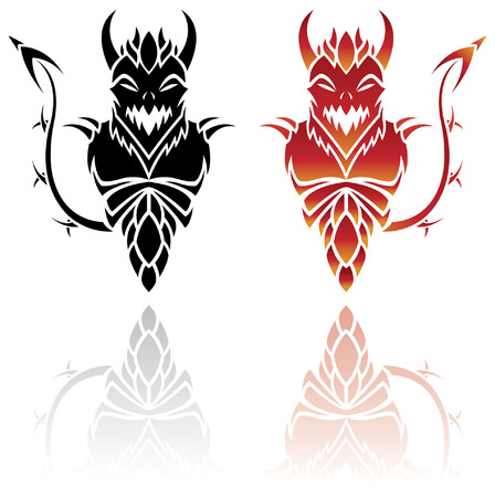 2 Devil tattoos isolated on white with reflections Illustration