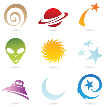 celestial: a set of fun space icons isolated on white Illustration