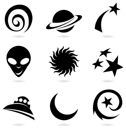 outer: a silhouette set of fun space icons isolated on white