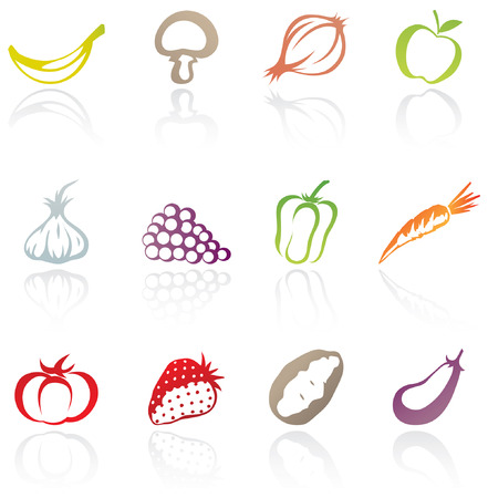 icons of various fruit and vegetables Reklamní fotografie - 3337478