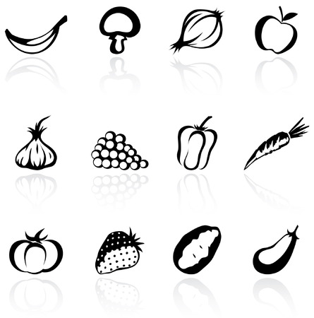 silhouette icons of various fruit and vegetables Vector