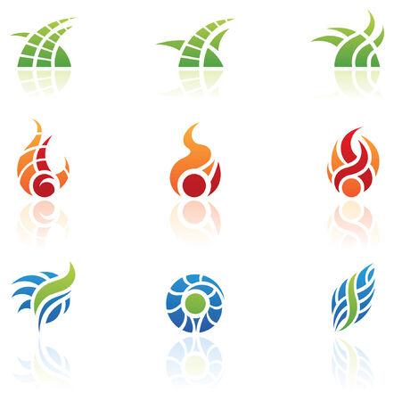 icons logo: Logos f�r die Natur und Design-Elemente-Symbole  Illustration