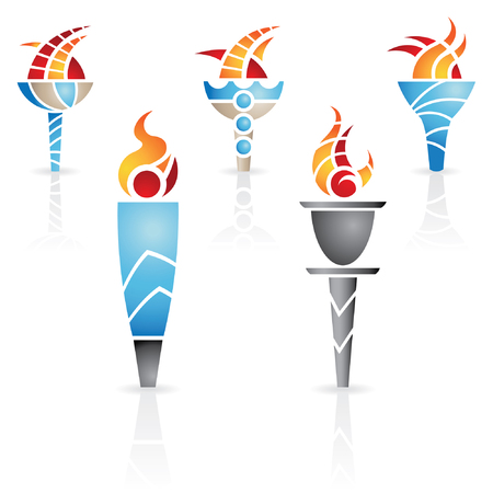 torches with fire and reflections Vector