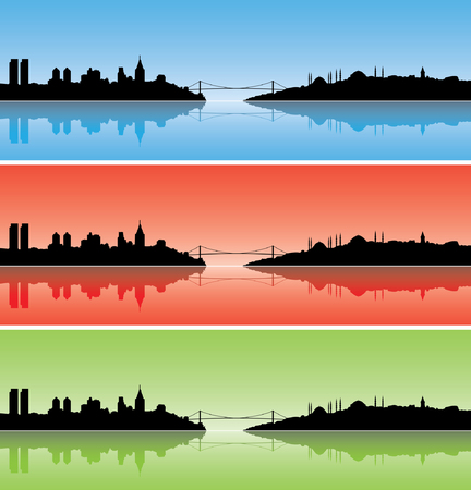 turkey istanbul: Colourful Istanbul silhouettes with reflections on the sea Illustration