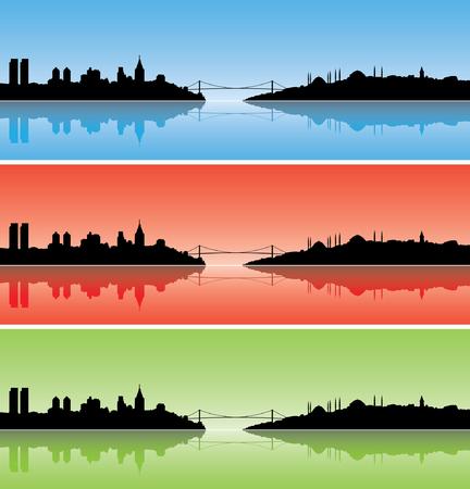turkey istanbul: Istanbul sagome colorate con riflessi sul mare
