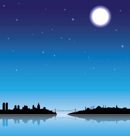 turkey istanbul: Istanbul siluetta di notte con la riflessione sul mare Vettoriali