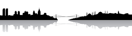 Istanbul silhouette and its reflection Vector