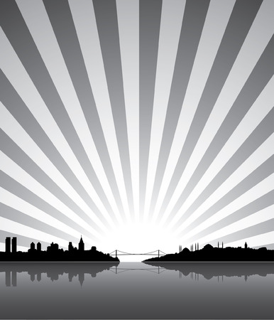 Istanbul silhouette with sunrise or sunset at the background Vector