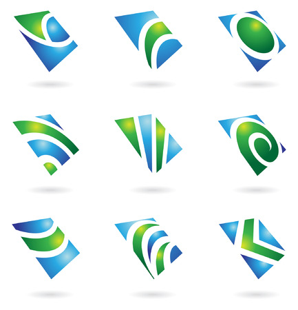 green glossy logos and graphic design elements Vector