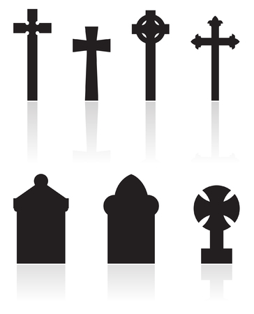 a set of gravestones silhouettes isolated on white Illustration