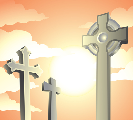 gravestones in a graveyard on a sunny day Stock Vector - 3477417