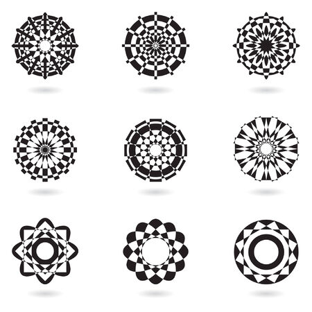 abstract black icons and ornaments Vector