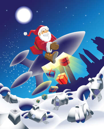 flying hat: Millennium Santa on a space rocket Stock Photo