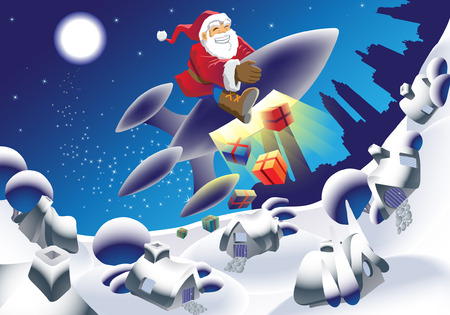 Millennium Santa delivering the gifts in an unusual way Vector