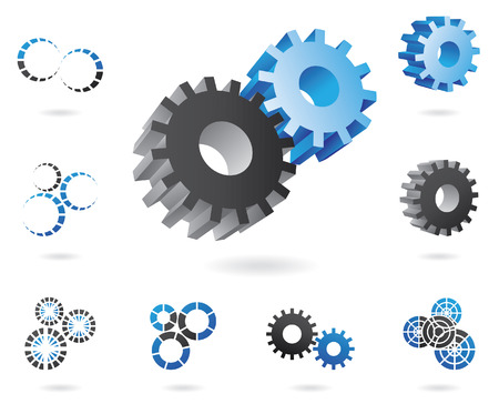 a set of blue and black cogs in 2d and 3d shapes Illustration