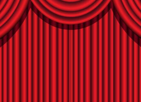 terciopelo rojo: cortina de terciopelo rojo de un evento teatral Vectores