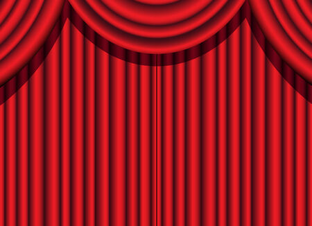 limelight: red velvet curtain of a theatrical event Illustration