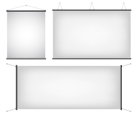 a set of promotional canvas banners hanging