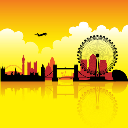 London skyline silhouette at dusk with reflection on thames Vector