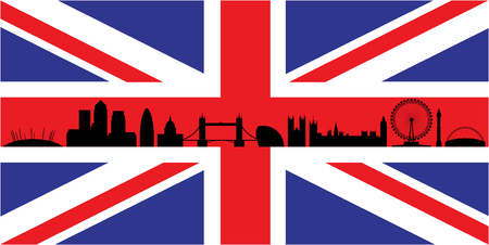 canary wharf: London skyline silhouette isolated on union jack flag