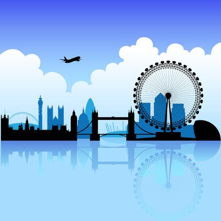 london: Londen skyline silhouet op een helder licht bewolkt dag Stock Illustratie
