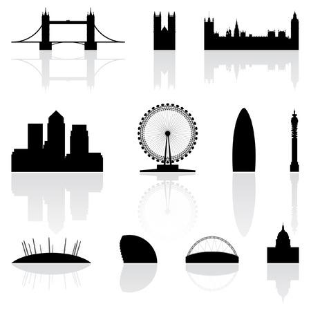 london: Londen beroemde bezienswaardigheden geïsoleerd op een witte achtergrond