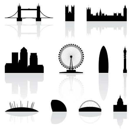 houses of parliament   london: London famous landmarks isolated on a white background Illustration