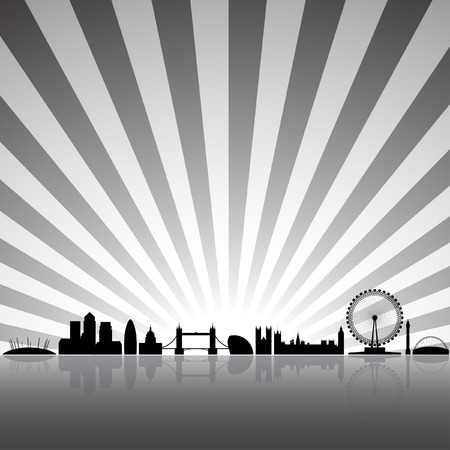 houses of parliament   london: London skyline silhouette on a sunny background Illustration