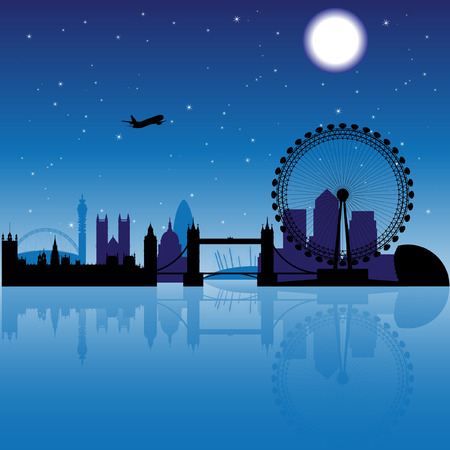 canary wharf: London silhouette at night with stars and moon on the background