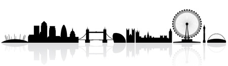 canary wharf: London skyline silhouette isolated on a white background with reflections