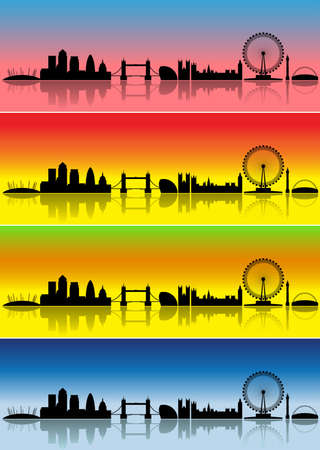 London silhouettes in different colours representing four seasons photo
