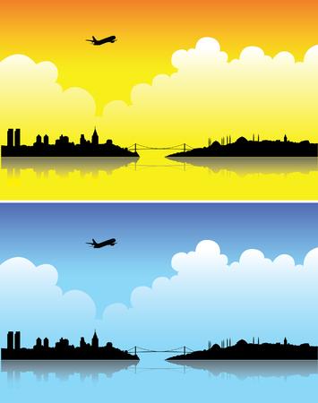 turkey istanbul: Istanbul silhouette luminose su un giorno e al crepuscolo