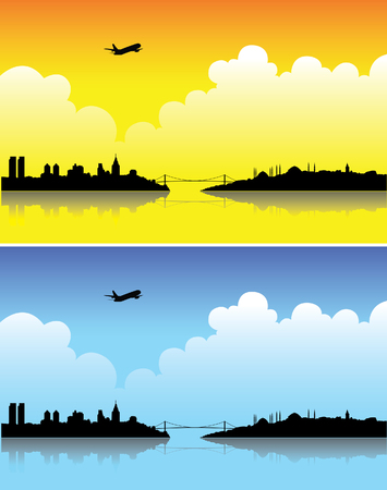 Istanbul silhouettes on a bright day and at dusk Vector
