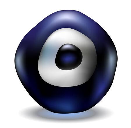lucky charm: Turkish lucky charm blue evil eye bead Illustration