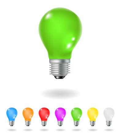 light bulbs: bombillas de colores aislados sobre un fondo blanco