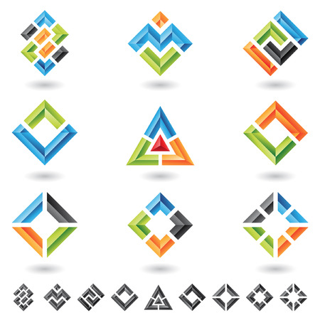 3d squares, rectangles, triangles and various geometrical shapes Vector